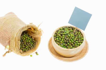 Green beans in a sack and bowl ,On white background.