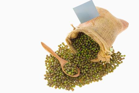 mung: Mung beans on white background