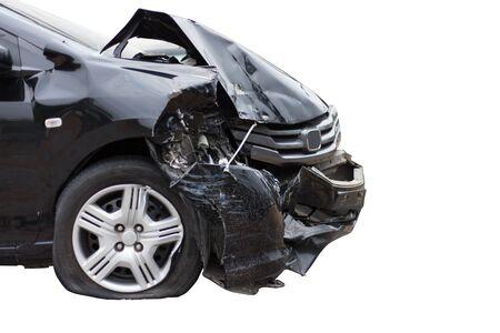Autounfall Unfall beschädigt Autos, Isolieren auf weißem Hintergrund.