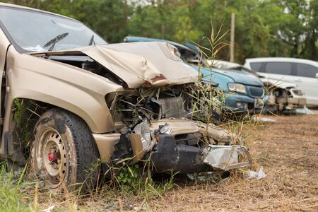 damaged: car crash accident damaged automobiles.