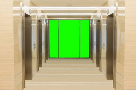 lift gate: Elevator cabin stainless steel and  green screen background