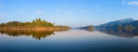 kanchanaburi: Panorama photos atmosphere of Khao Leam national park Sangkhlaburi Kanchanaburi, Thailand.
