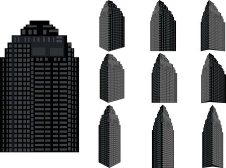 willis: Tower building vector set. Collection of city and landscape.Building with many views