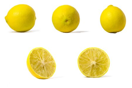 Picture of yellow lemon sliced in half and not halved with a multi-directional perspective on a white background