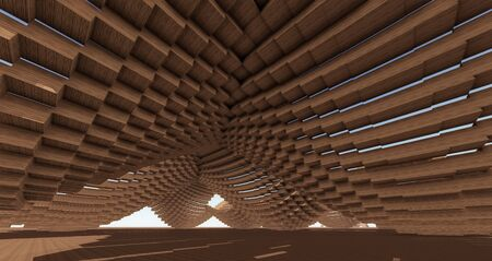 parametric: Wood Pixelated Surfaces with Offset Leveling  Stock Photo