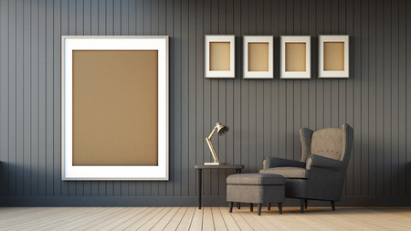 lamp: Gray armchair and frame