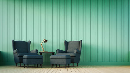 Navy sofa and green wall with vertical stripes