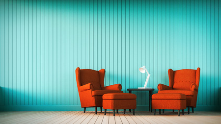 red sofa: Red sofa and marine wall with vertical stripes Stock Photo