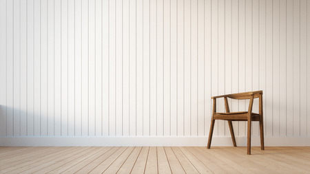 Chair and white wall with vertical stripes