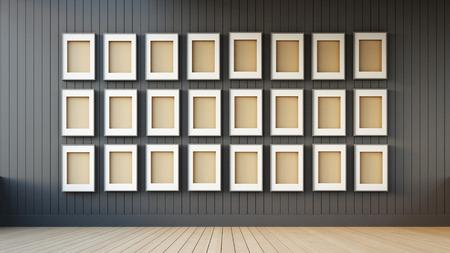 frame modern and black wall Archivio Fotografico