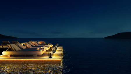 Sala de estar de la playa y Salón de fiestas y sala de descanso - Sundeck and Lagoon view / Imagen de representación en 3D