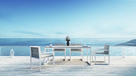 Beach dining & Sea view / 3d rendering Archivio Fotografico