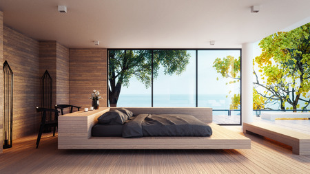 The Modern Bedroom -  Sea view for vacation and summer  / 3d rendering interior