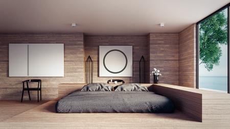 The Loft and Modern bedroom - Mock up interior/ 3D rendering interior Archivio Fotografico