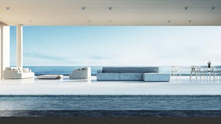 Beach living room - Beach lounge / 3D render interior