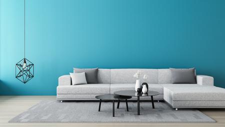 Blue wall living room / 3D render interior