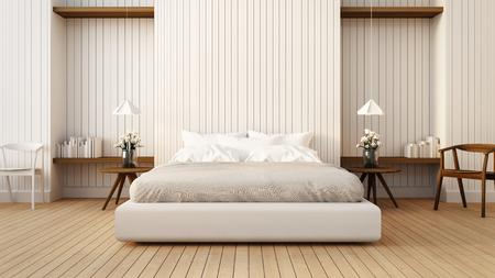 Loft and modern bedroom in white / 3D render image Archivio Fotografico
