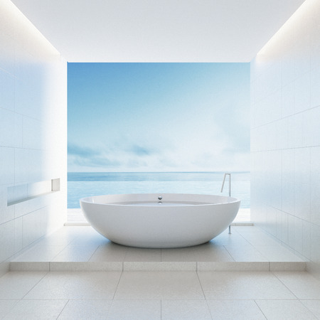 Beach bathroom - Luxury and modern hotel / 3D render interior Archivio Fotografico