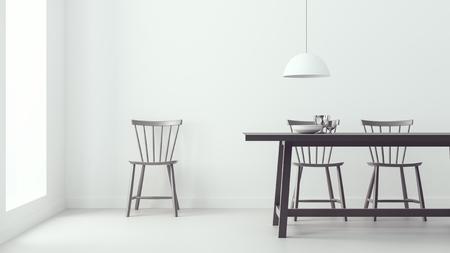 modern dining room & white background/ 3d render image Archivio Fotografico