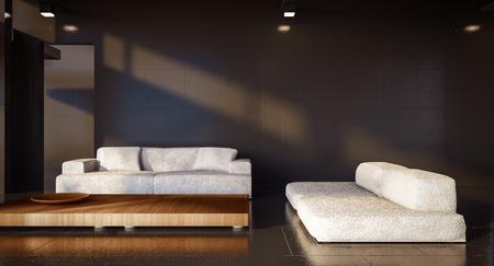 minimal living room and black wall / 3d render image