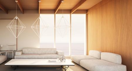 Beach luxury living on Sea view / 3d rendering