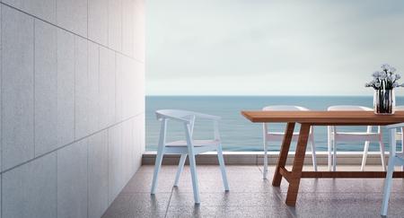 Beach dining room on Sea view / 3d rendering