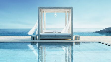 Beach lounge - ocean villa on Sea view for vacation and summer / 3d render interior