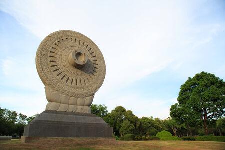 dhamma: Wheel of Dhamma Stock Photo