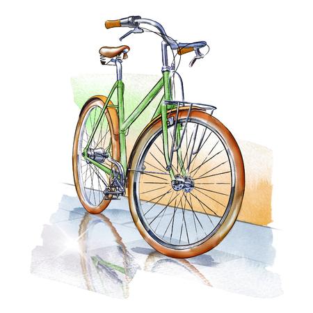 웅덩이에서 반사와 격리 된 빈티지 자전거의 수채화 그림