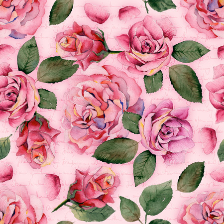 context: Watercolor roses seamless pattern