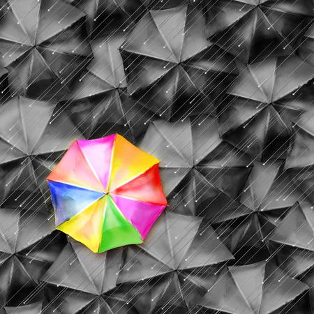 완벽 하 게 많은 열린 된 컬러와 검은 색 우산, 완벽 하 게 생성하는 자리 수채화 이미지 편집 래스터 이미지에 대 한 프로그램에서. 스톡 콘텐츠