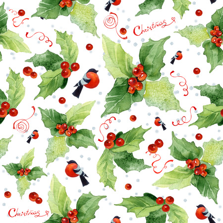 Christmas seamless watercolor background with holly berries and bullfinches on white background.