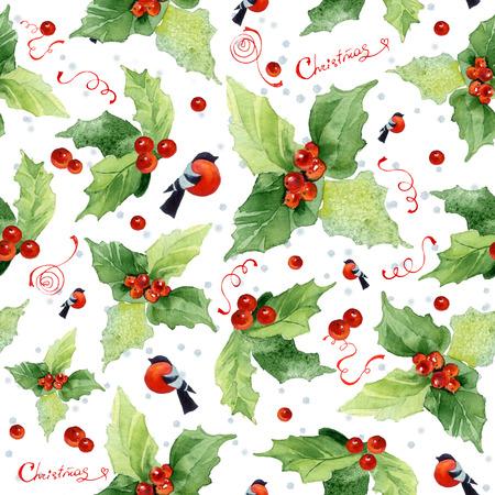 Kerst naadloze aquarel achtergrond met hulst bessen en goudvinken op een witte achtergrond.