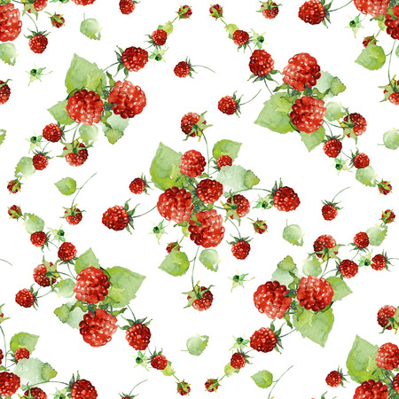 raspberries: Seamless pattern with watercolor raspberries in vintage style. Stock Photo