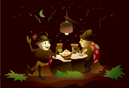 Ladybugs drink tea on the lawn at night Illustration