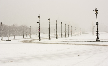 Winter parade of street lamps
