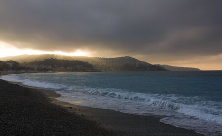 Sunrise at the sea near Nice Stock Photo
