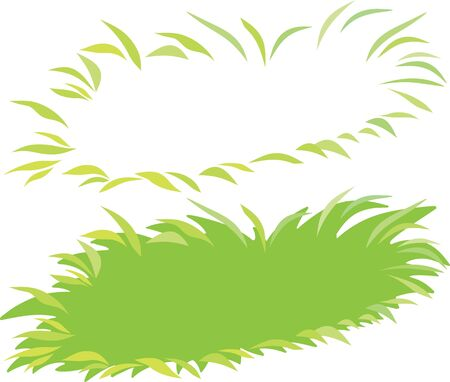 Set of eco green grass editable vector illustration