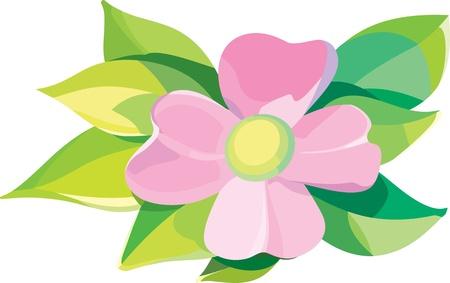 Violet flower with leaves editable vector illustration Illustration