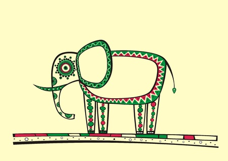 Illustration of elephant, produced in ethno style with the unique colour Vector