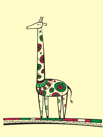 Illustration of giraffe, produced in ethno style with the unique colour Vector