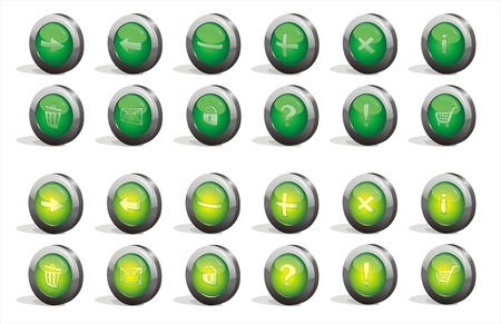 The collection of 3d green buttons Stock Vector - 12233094