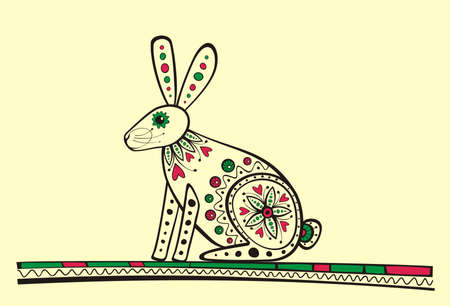 Illustration of rabbit, produced in ethno style with the unique colour
