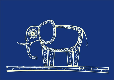 Illustration of blue elephant, produced in ethno style with the unique colour