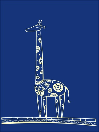 Illustration of blue giraffe, produced in ethno style with the unique colour Illustration