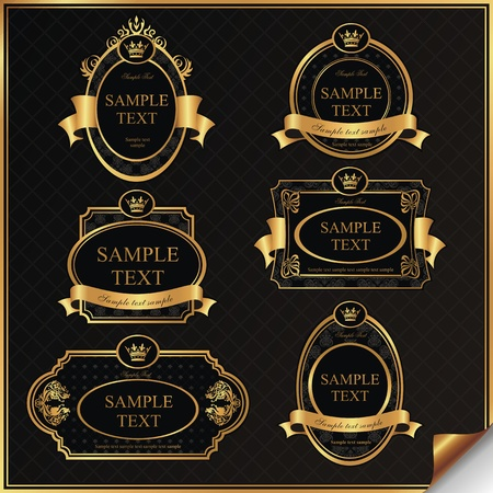 Set of black gold-framed labels in vector