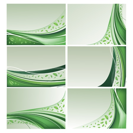 Eco vector background set with green leaves Illustration
