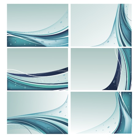 Set of abstract blue backgrounds with water droplets in vector Illustration