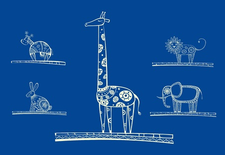 giraffe silhouette: The vector set of animals in unique technique with ethnic motives