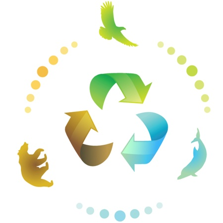 recycling symbol: Recycle eco symbol with animals, vector illustration